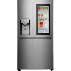 GSX961NSAZ Insta View American Style Fridge Freezer, A++ Energy Rating, 90cm Wide, Noble Steel