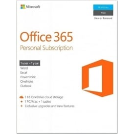 Microsoft Office 365 Personal - 1 User - 1 Year Subscription