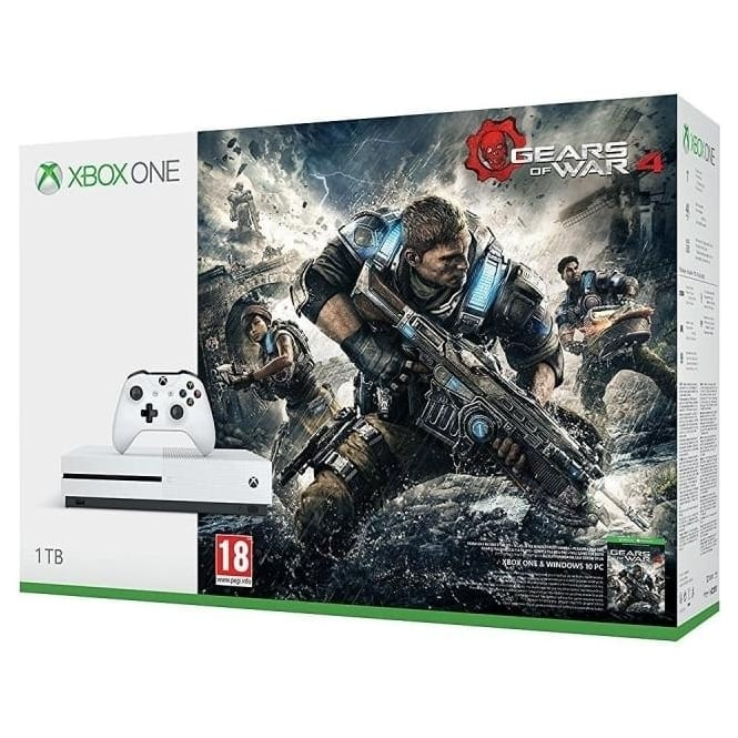 Microsoft Xbox One S 1TB + Gears of War 4 Game Consoles