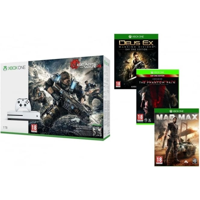 Microsoft Xbox One S 1TB + Gears of War 4, Mad Max, Metal Gear Solid V, Deus Ex: Mankind Divided Day One Edition