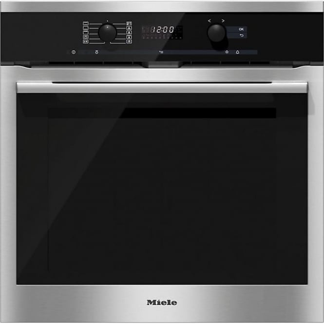 Miele H6160BP Electric Single Oven with Pyrolytic self-cleaning, Clean Steel