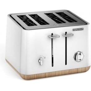 Aspect 4 Slice Toaster, White Wood