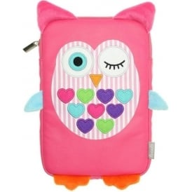 "7"" Pink Owl Sleeve Pouch with Zip"