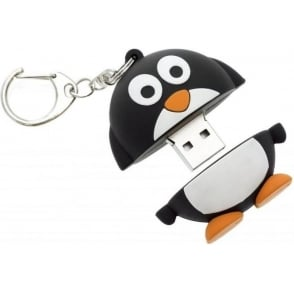 8GB USB Flash Drive Memory Stick With Keyring Attachment, Penguin