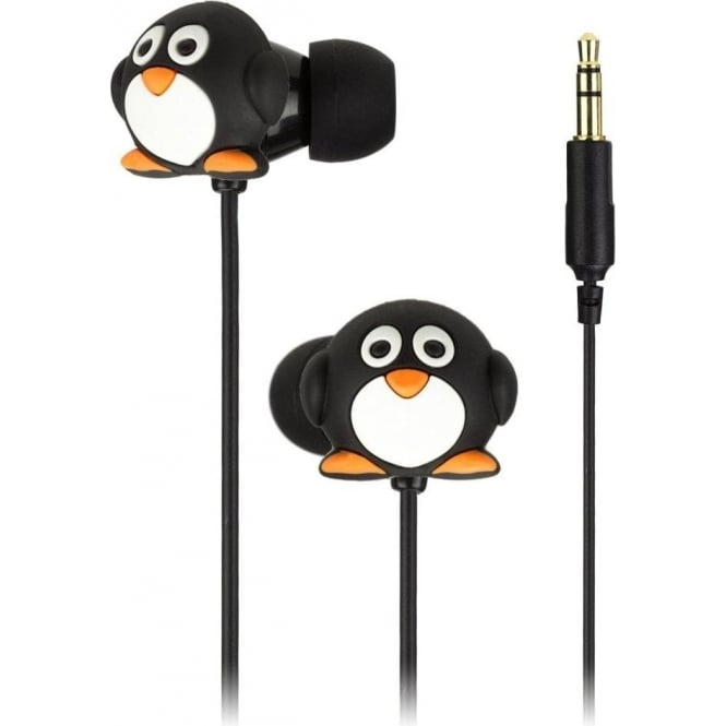 My Doodles DDPENBUD Penguin In Ear Headphones, Black