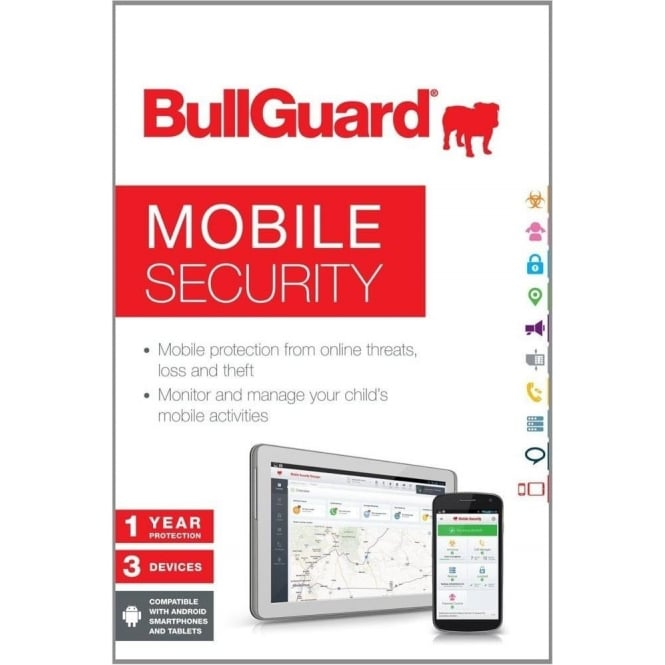 BullGuard New Mobile Internet Security fro Android Smart Phones & Tablets - 1 Year 3 Devices
