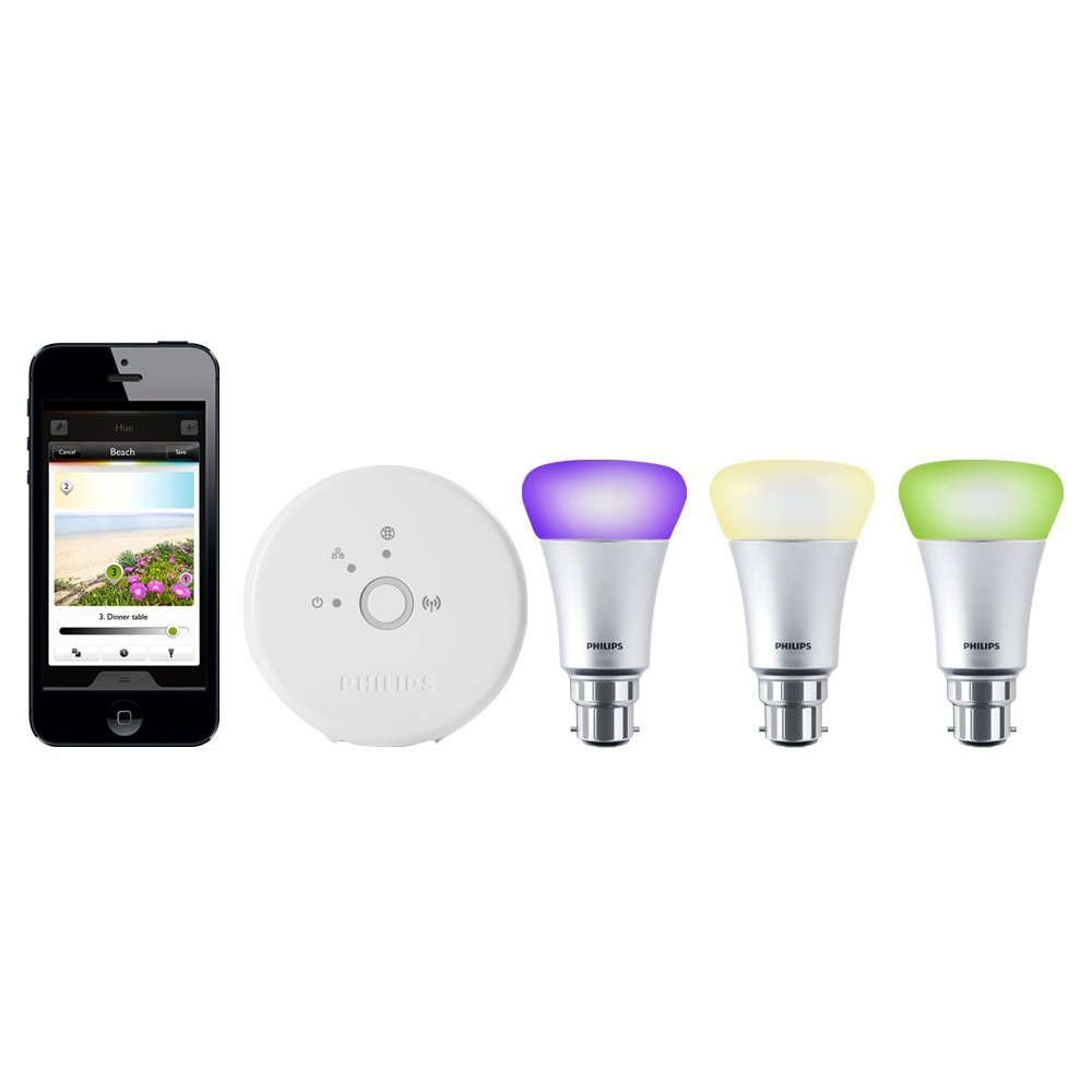 philips hue personal wireless lighting starter kit 3 x a19 b22 led light bulbs 1 bridge. Black Bedroom Furniture Sets. Home Design Ideas