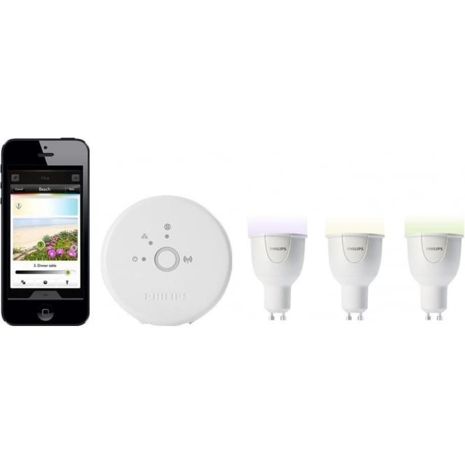 Philips Hue Personal Wireless Lighting Starter Pack (3 x GU10 LED Light Bulbs, 1 Bridge)
