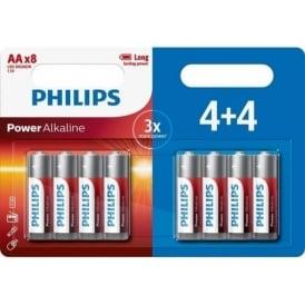 Power Alkaline AA Batteries, Pack of 8