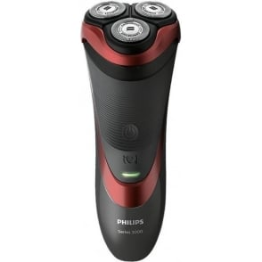 S3580/06 Series 3000 Wet and Dry Electric Shaver with Pop-Up Trimmer, Red
