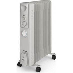 P43005YT 2500W Oil Filled Radiator with Timer with Overheat Protection, White and Grey