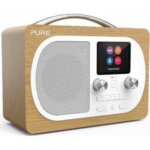 Pure Evoke H4 Portable Digital DAB/DAB+ and FM Radio with Bluetooth, Colour Screen, Alarm, Oak