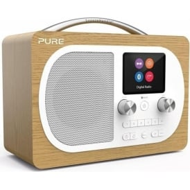 Pure Evoke H4 Portable Digital DAB/DAB+ and FM Radio with Bluetooth, Colour Screen, Alarm, Oak