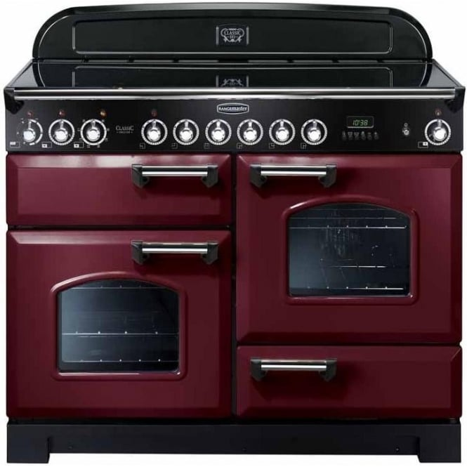 Rangemaster CDL110ECCY/C Classic Deluxe 110 Electric Range Cooker with Ceramic Hob, Cranberry, Chrome Trim