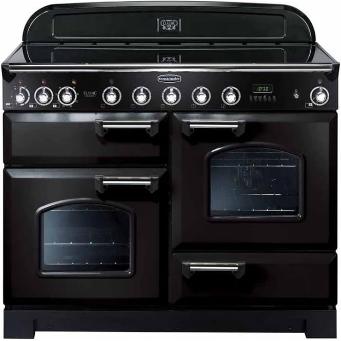 Rangemaster CDL110EIBLC Classic Deluxe Induction 110 Electric Range Cooker with Induction Hob, Black, Chrome Trim