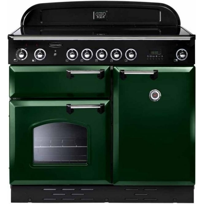 Rangemaster CLAS100EIRG/B Classic 100 Electric Range Cooker with Induction Hob, Racing Green, Brass Trim