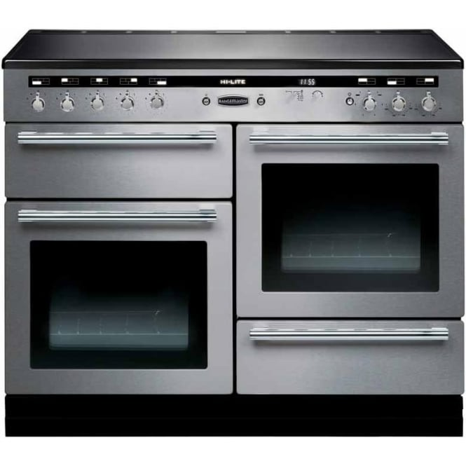 Rangemaster HLT110EISSC Hi-Lite 110 Electric Cooker with Induction Hob, Stainless Steel, Chrome Trim