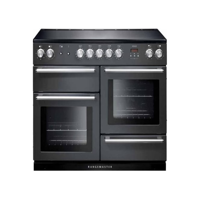 Rangemaster NEX110EISL/C Nexus 110 Electric Range Cooker with Induction Hob, Slate, Chrome Trim