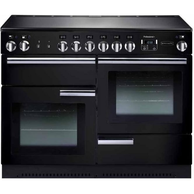 Rangemaster PROP110ECGB/C Professional+ 110 Electric Range Cooker with Ceramic Hob, Black, Chrome Trim