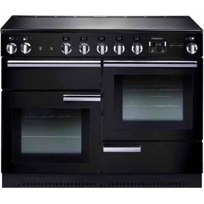 Rangemaster PROP110EIGB/C Professional+ 110 Electric Range Cooker with Induction Hob, Black, Chrome Trim