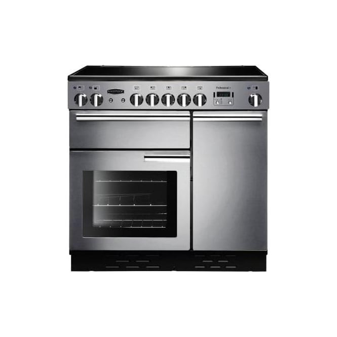 Rangemaster PROP90ECSSC Professional+ 90 Range Electric Cooker with Ceramic Hob, Stainless Steel, Chrome Trim