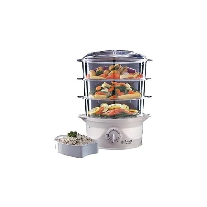 Russell Hobbs 21140 Three Tier Food Steamer, 9 L, 800W, White