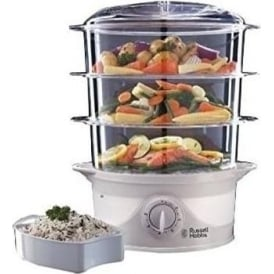 21140 Three Tier Food Steamer, 9 L, 800W, White