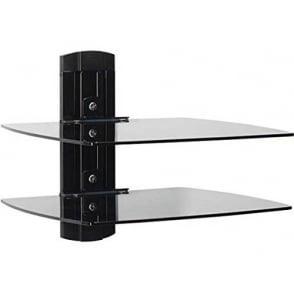 On-Wall Component Shelving Single-Column AV Component System with Two Adjustable Shelves, Black