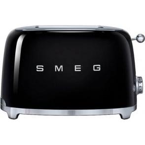 50's Retro Style Aesthetic 2 Slice Toaster, Black
