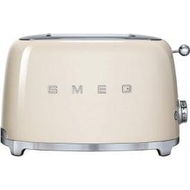 50's Retro Style Aesthetic 2 Slice Toaster, Cream