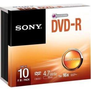 10DMR47SS DVD-R 4.7GB Slim Case - Pack of 10