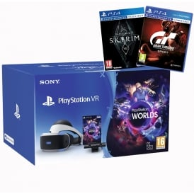 PS4 VR Bundle Including VR Headset, Camera, VR Worlds, VR Skyrim, GT Sport