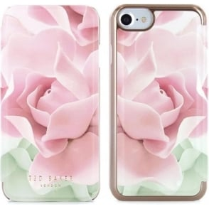 Knowai Mirror Folio Case for iPhone 7, Porcelain Rose