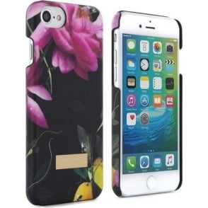 Luxury High Quality Hard Shell Case Cover in Flower Design for iPhone 7, Citrus Bloom Black