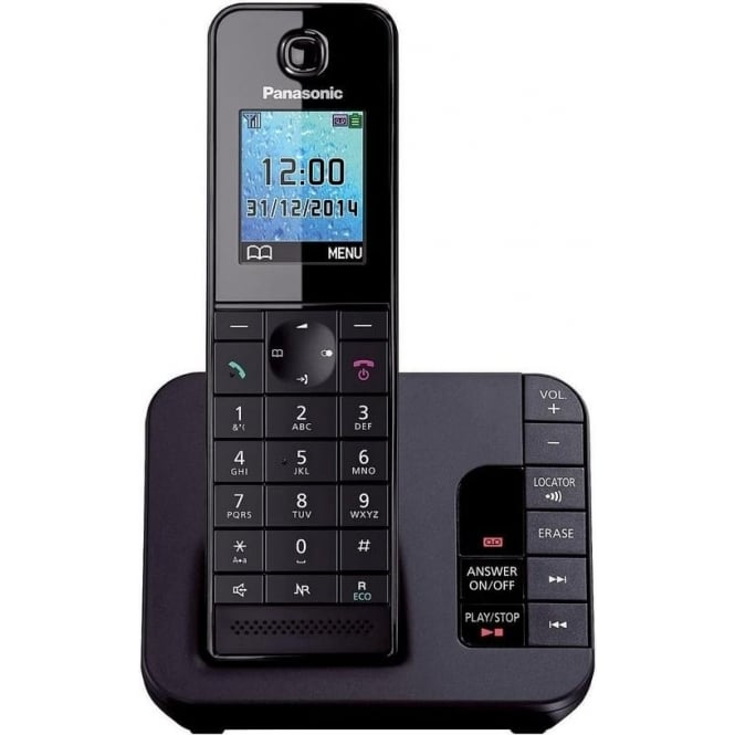 Panasonic TGH-220EB Cordless Telephone with Answering Machine, Single