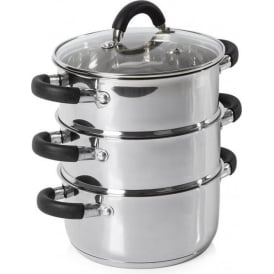 Essentials 18cm 3 Tier Stainless Steel Steamer