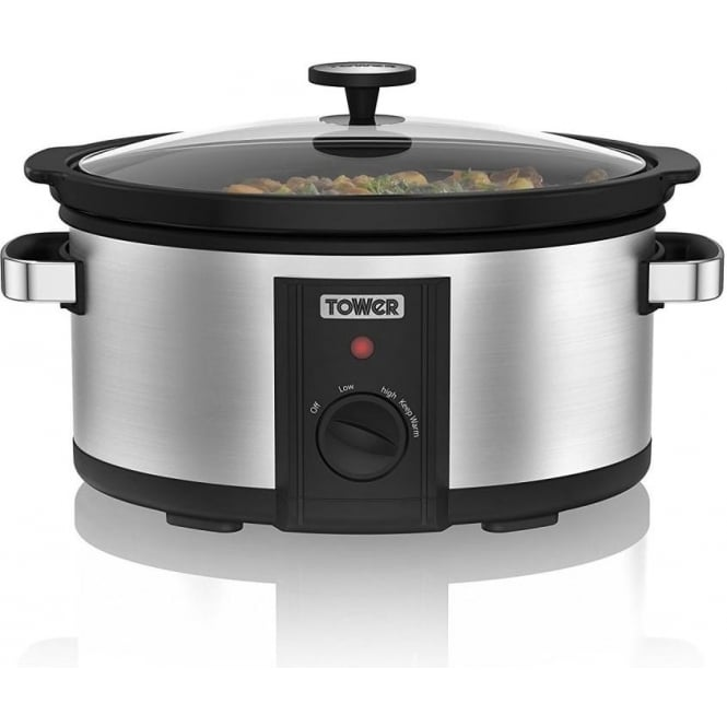 Tower T16011 6.5L Slow Cooker, Stainless Steel