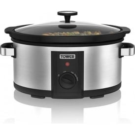 T16011 6.5L Slow Cooker, Stainless Steel