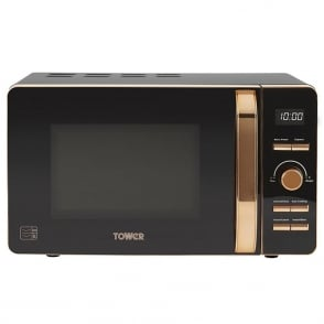 T24021 Rose Gold Digital Microwave, 20 Litres, Black
