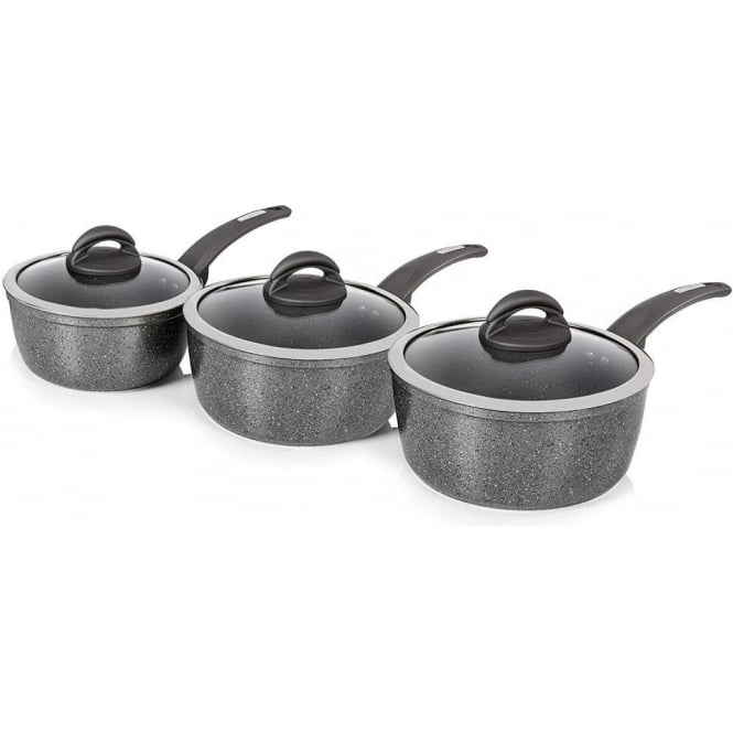 Tower T81212 Forged Aluminium Saucepan Set with Non-Stick Cerastone Coating, Graphite
