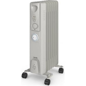 WL43003YT 1500W Oil Filled Radiator with Timer, Silver
