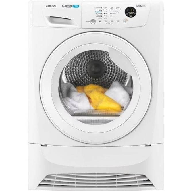 Zanussi Anti-Crease 8kg, B Condernser Tumble Dryer, White