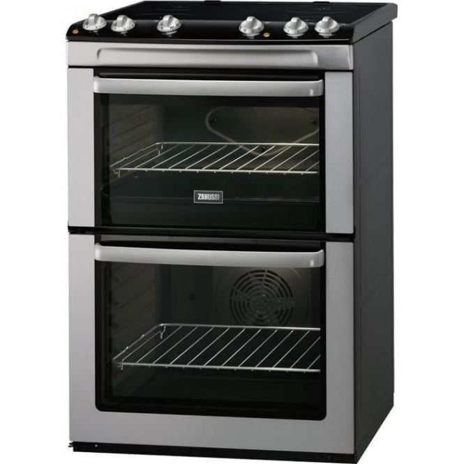 Zanussi Energy Efficient Freestanding 60Cm Double Electric Cooker And Hob, Stainless Steel