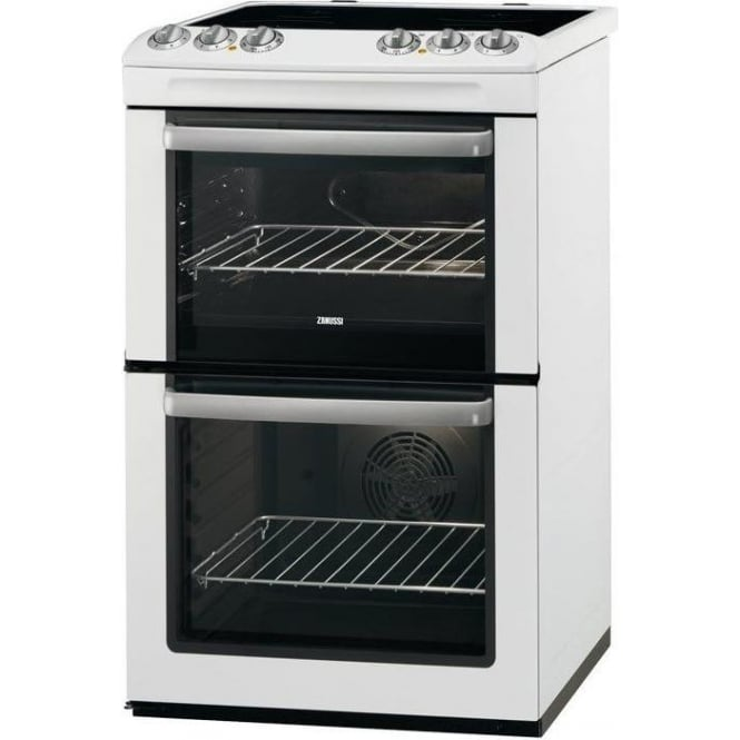 Zanussi ZCV554M 55cm Electric Cooker with Double Oven and Ceramic Hob, White