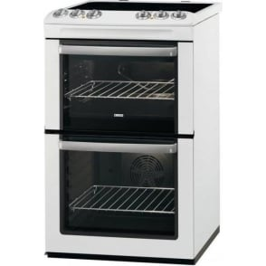 ZCV554M 55cm Electric Cooker with Double Oven and Ceramic Hob, White