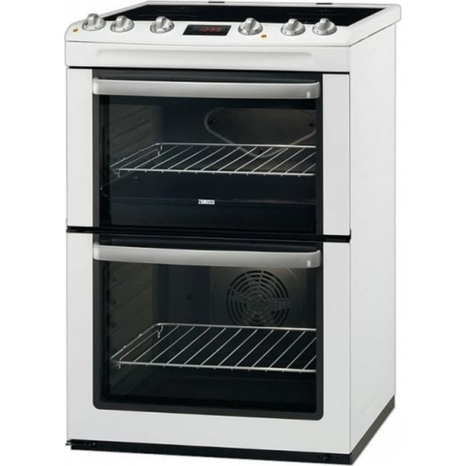 Zanussi ZCV665MWC 60cm Electric Cooker with Double Oven and Ceramic Hob, White