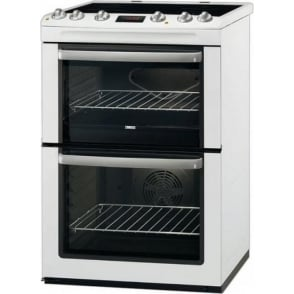 ZCV665MWC 60cm Electric Cooker with Double Oven and Ceramic Hob, White