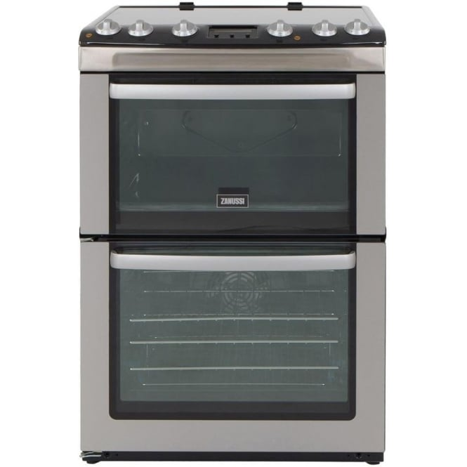 Zanussi ZCV667MXC 60cm Electric Cooker with Double Oven and Ceramic Hob, Stainless Steel